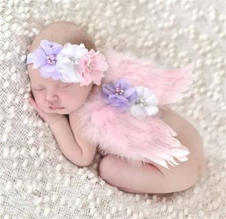 Angel Wings Feather Wings Baby Girl Flower Pearl Headband Photo Shoot Hair Accessories For Newborn