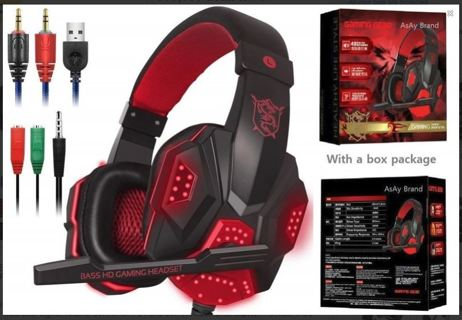 Gaming Headset Wired Headphones Microphone Bass Surround Noise Reduction LED Lights Volume Control