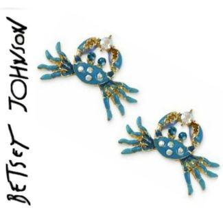 "Betsey Johnson ""Feeling Crabby"" earrings New Free ship"
