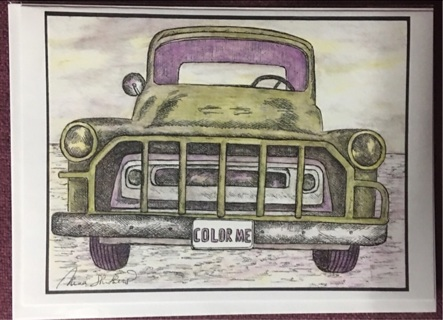 "GREEN DODGE - 5 x 7"" art card by artist Nina Struthers - GIN ONLY"