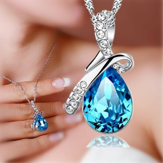 Fashion Women Silver Chain Crystal Rhinestone Pendant Necklace Jewelry Gift