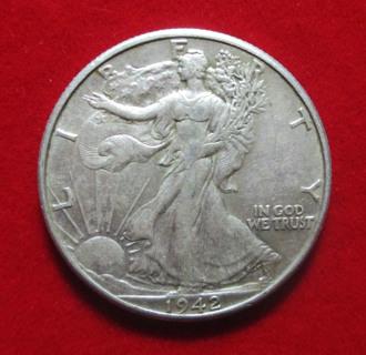 1942 EX. FINE US Walking Liberty Silver Half Dollar