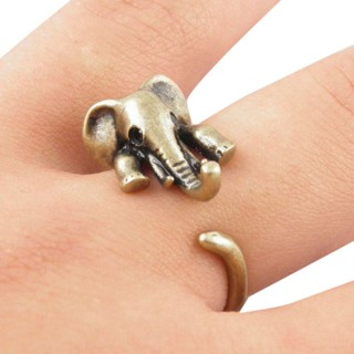 Brand New Elephant Wrap 3D Adjustable Open Vintage Finger Ring