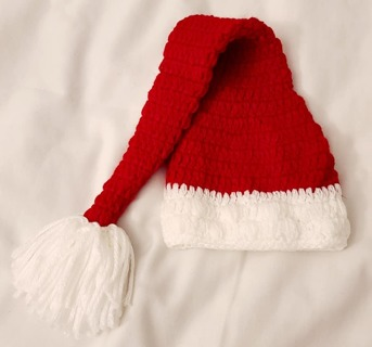 CROCHET 3 to 6 Months Santa Hat so CUTE! Great Photo Prop
