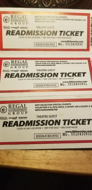 Lot of (3) Three Regal Movie Theater Tickets