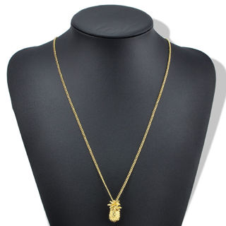Gold Plated Tiny Pineapple Fruit Charm Long Chain Necklace Summer Jewelry gift