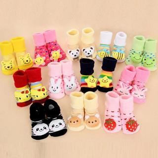 Boy Girl Unisex Skid Rubber Sole Socks Baby Anti Slip Newborn 0-18Month Cotton Lovely Cute Shoes A