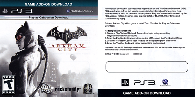 Free: BATMAN arkham city ps3 catwoman code - Other Video Game