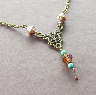 Victorian Artisan Tea Time Party Necklace Handmade