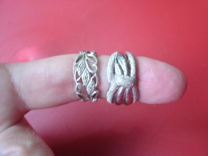 Pair of Silver Band Rings size 8