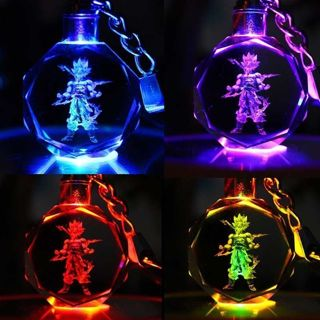 Dragon Ball Z Super Saiyan Son Goku Crystal LED Keyring Keychain Pendant