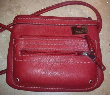 Free Tignanello Glam Red Leather Organizer Crossbody Handbag T98120 89