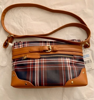 Time and True Crossbody Cute Plaid and Brown Bag NEW!