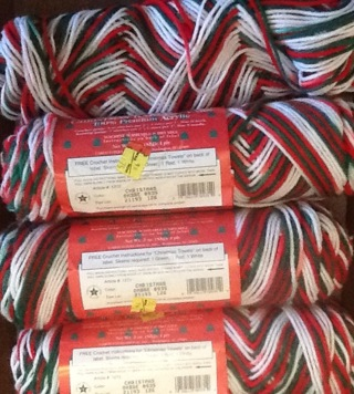 Caron Christmas ombre yarn 3 skeins 4 ply acrylic