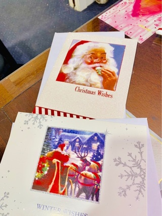 2 Brand New Over-sized Glitzy Sparkling Shining Santa Claus Christmas Winter Greeting Cards