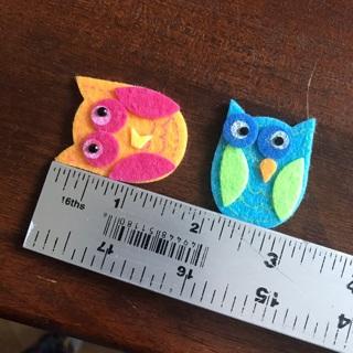 4 NEW Felt Owl Stickers, Free Mail