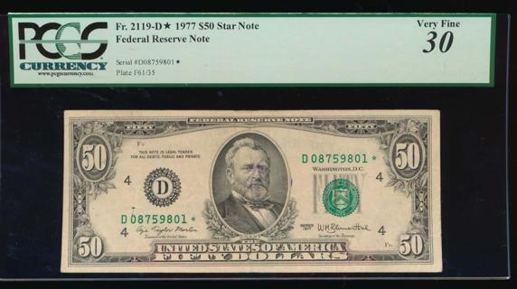 $50 1977 Cleveland Federal Reserve *Star* Note PCGS 30 comment Fr. 2119-D*