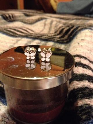 White butterfly (2) euro style beads charms for pandora or pandora like bracelets
