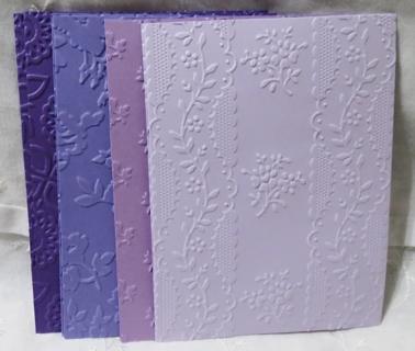 Purple Hues Embossed Cardstock Card Fronts or Scrapbooking Papers 8