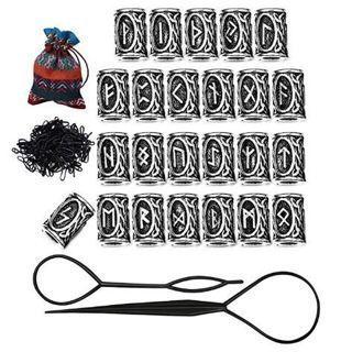 24Pcs Vikings Runes Beads & Rubber Bands Fashion Hair Accessories Braiding Bracelet Necklace