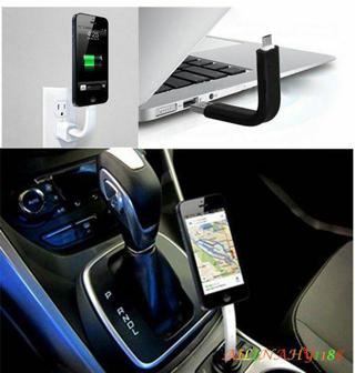 Short Mini Bendable Support Stand USB Data Charger Cable For iPhone Samsung HTC