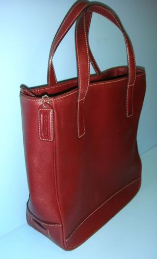 ed1b744d3b Coach 100% Authentic Red Leather Vintage Tote Shopper Bag 7787 (MSRP more  than