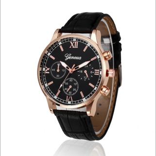 Fashion New Geneva Men Leather Band Stainless Steel Quartz Analog Wrist Watch