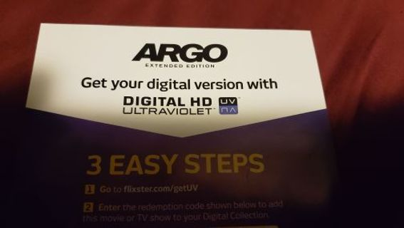 Argo extended edition digital HD code ONLY