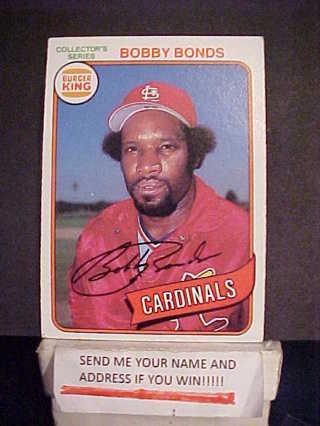 Free 1980 Bobby Bonds Topps Baseball Card For Burger King St