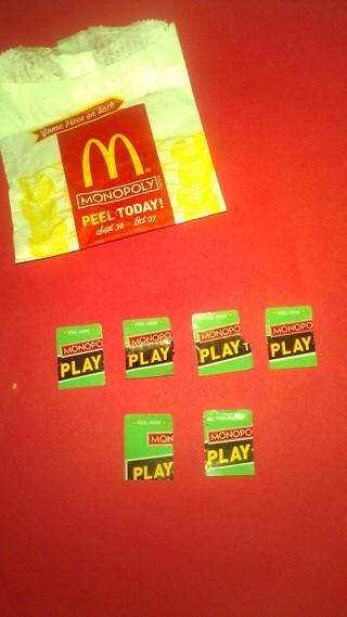 (3/4) McDonald's MONOPOLY Game Pieces
