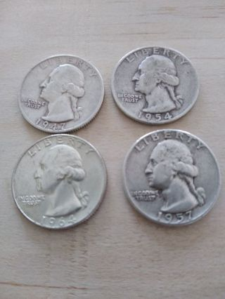4 Sterling Silver Quarters
