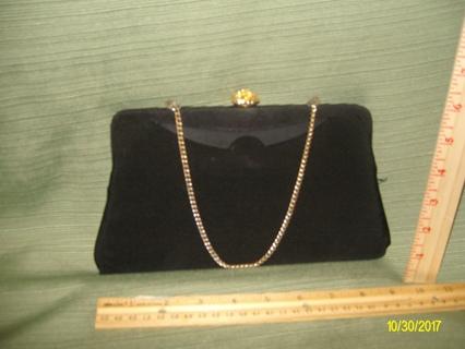 "VintageBlack Evening Hand Bag-Gold Clip & Crystals- Chain- 5.5"" T x 9""W-25000 Credits-$ 7.88USA Ship"
