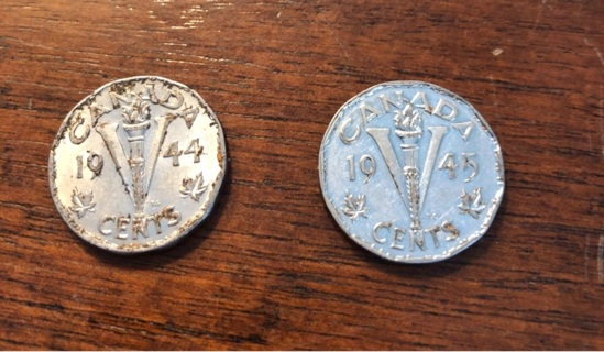 1944 & 1945 Canada WWII nickels