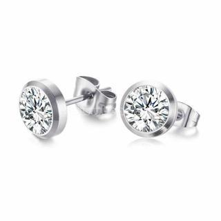 Women Silver CZ Rhinestone Stainless Steel Stud Ear Earrings Party Jewelry