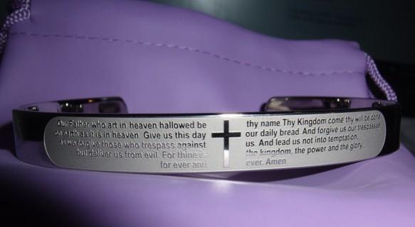 "Men's Lord's Prayer Cuff Bracelet In Stainless Steel Adjustable 7.5"""