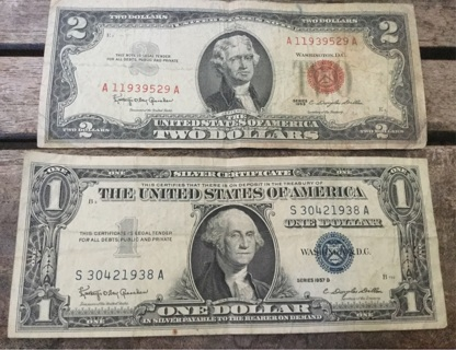 Free: 1963 Red Seal US $2 Two Dollar Bill & 1957B Blue Seal $1 ...