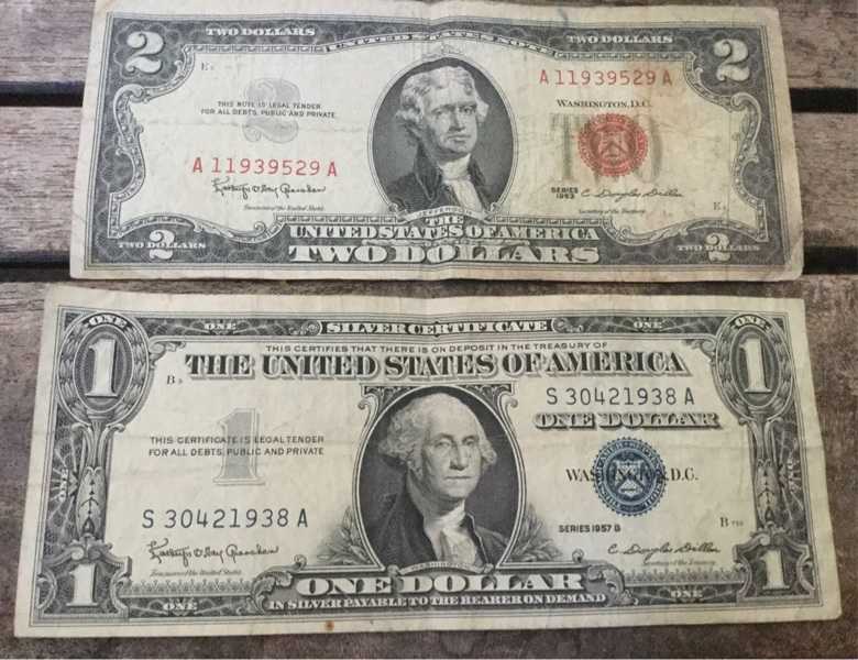 Free 1963 Red Seal Us 2 Two Dollar Bill 1957b Blue Seal 1