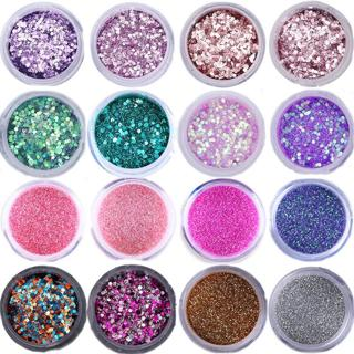 Nail Glitter Set Hexagon Sequins UV Gel Polish Decoration Mixed Color Nail For Nail Art Manicure T