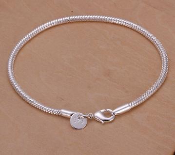 ELEGANT .925 SS Round Snake Chain Bracelet