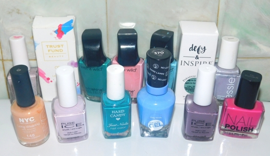Spring/Pastel Shades *NAIL POLISH LOT* Trust Fund~Defy & Inspire~Sally Hansen~NYC~Wet n Wild~Sugar
