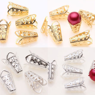 25Pcs Silver/Golden Plated Filigree Cone Bead Caps Pendant DIY 16x10x5mm
