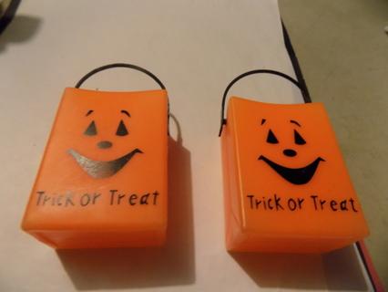 Pair of 2 orange Trick or Treat Plastic bags 3 inch