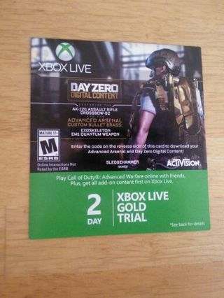 Free: 2 Day Xbox Live Gold Trial prepaid code Xbox one Xbox