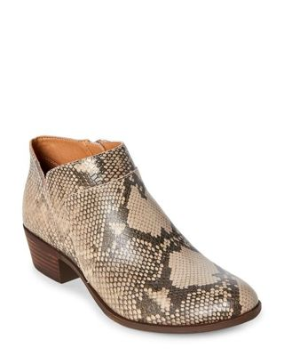 Chinchilla Brintly Snakeskin-Effect Ankle Booties