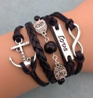 Infinity Owl Love Anchor Friendship Leather Charm Bracelet Silver