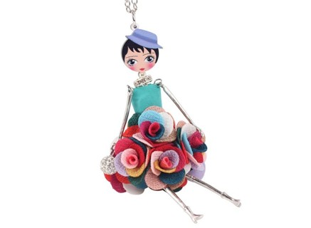 Statement Flower Doll Necklace Dress Handmade French Doll Pendant