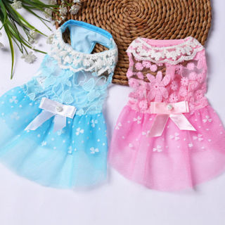 Cute Dog Lace Dress Vest Puppy Summer Princess Bowknot Skirt Clothes Pet Costume