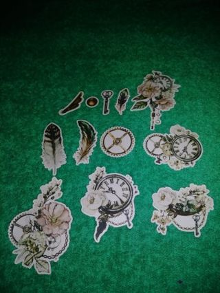 ❤✨❤✨❤️12 BRAND NEW ASSORTED FEATHERS, FLOWERS & CLOCKS STICKER FLAKES❤✨❤✨❤