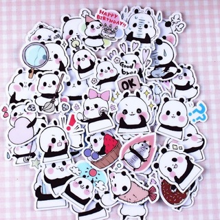 ⭐️ Chibi Baby Panda Bear Kawaii High End Sticker Flakes Set of 10 BRAND NEW ⭐️