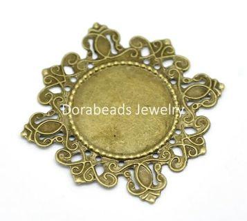 DoreenBeads 30 Antique Bronze Filigree Cabochon Setting Wraps Connectors Embellishments